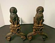 Antique Cast Iron Fireplace Andirons Fire Dogs With Large Dog Figures