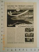 1931 Consolidated Aircraft Corp Ad Buffalo Ny Pan Am Airlines Curtiss-wright