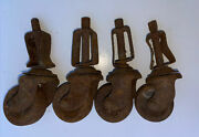 4 Vintage Antique Metal Casters Wheels For Furniture Chairs 1 1/4andrdquo Wheels