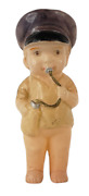 Antique Celluloid Baby Boy Wearing Hat Rattle Doll 4 Tall Vintage