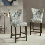 Luxury Blue Multi Color Counter Stool Solid Wood Legs And Bronze Kickplate.