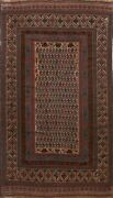 Semi-antique Afghan Geometric Oriental All-over Area Rug Hand-knotted Wool 6and039x9and039