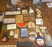 Lot Of 37 Country Farmhouse Themed Signs,wall Decor,religion,wood,stuffed Angels