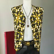 Versace Classic V2 Cotton Vest Barocco Print Size It 54 Black Ivory And Gold