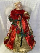 20.5andrdquo Tall Angel Christmas Tree Topper/ Table Decoration Red And Gold