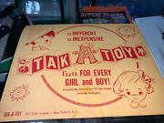 Rare 1950s-60s Tak-a-toy Cardboard 2-sided Dime Store Toy Store Display Sign.
