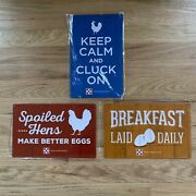New Wrapped Purina Set 3 Metal Chicken Red Blue Yellow Hen Egg Signs 11x7