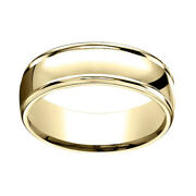 10k Solid Yellow Gold 7mm Comfort Fit High Polish Round Edge Band Ring Sz 12