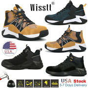 Men's Steel Toe Caps Mid-ankle Work Boots Durable Lightweight Hiker Safety Shoes
