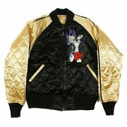 Rmc Jeans Black And Gold Quilted Reversible Jacket With Embroidered 4a Hero