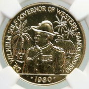 1980 Samoa Wilhelm Solf And Palms Old Vintage Gold 100 Tala Coin Ngc I92190