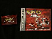 Authentic Pokemon Ruby Version Gameboy Advance Gba Game   Dry Battery Tested