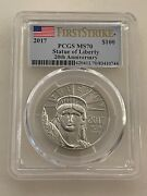 2017 100 Platinum Eagle Pcgs Ms70 First Strike Statue Of Liberty 1 Ounce