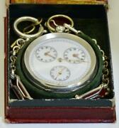 Rare Antique Two Time Zones Large Silver Captain's Pocket Watch For Ottoman Navy