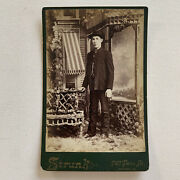Antique Cabinet Card Studio Photo Handsome Dapper Young Man Gay Int Reading Pa