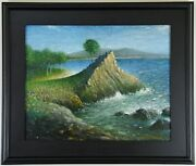 Vintage Mid-century Modern Surrealism Oil Painting Of Montereyand039s Lone Cypress