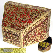 Vr Antique Victorian English Boulle Stationery Casket Or Desk Box Canted Shape