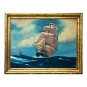 Vintage Oil Painting Of A Sailing Ship H. M. Rupper 1937 Maritime Arts Crafts