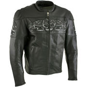 Xelement Bxu6050 Menand039s And0393 Skull Headand039 Black Leather Motorcycle Jacket With