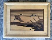 Hudson River Inlay Signed Jeff Nelson Ducks In Flight Wood Marquetry Art