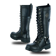 Womenandrsquos 15 Inch Black Leather Stylish Motorcycle Boots Daniel Smart Ds9765