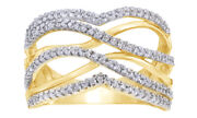 3/8 Ct Round Natural Diamond 10k Yellow Gold Crossover Bypass Engagement Ring