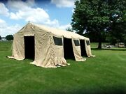 Military Base X Tent 305 +floor+ Stakes Tan 18x 25 Ft---450 Sq Ft Surplus Army