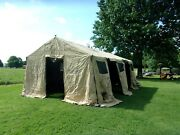 Military Base X Tent 305+stakes Tan 18x 25 Ft 450 Sq Ft Surplus Army- Very Dirty