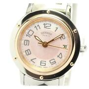 Hermes Clipper Classic Cp1.221 Date Quartz Stainless Steel Ladies Watch [b0605]