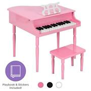 Kids Mini Wooden Grand Piano W/ Lid Bench Music Rack Song Book Stickers Multi