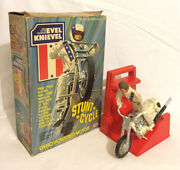 Evel Knievel Stunt Cycle + Action Figure And Energizer 1975 Ideal Boxedvintagerare