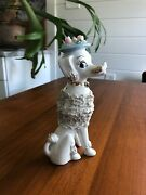 1950s Vintage French Poodle Ceramic Spaghetti Figurine With Pink Rose Hat And Go