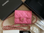 Bnib 100auth 21p Pink Card Holder On Chain Caviar Leather Light Gold Hdw