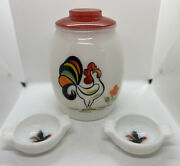 Vintage Bartlett Collins Proud Rooster Glass Cookie Jar And Two Bowls