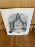 Vintage 1910 Grand Lodge Of Massachusetts Masonic Certificate Signed With Seal