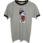 Nwot Vintage Mickey And Co Men's M Ringer T Shirt Uncle Sam Mickey Mouse Usa Gray