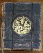 Antique Leather Bound Pronouncing Parallel Holy Bible Old And New Testament 1892