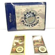 New Disney Mickey Mouse Plane Crazy Mousepad With 2 Disney Decades Coins