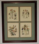 Vintage Lot Of 4 Norman Rockwell Prints American Boys Matted Under 1 Glass Frame