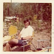 Dad In Woods Camping Yellow Chairs Glasses 1970and039s Vintage Photo Snapshot
