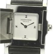 Hermes Medor Me3.201 Double Tour Quartz Stainless Ladies Watch From Japan[b0606]