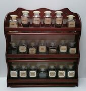 Vintage 1950and039s Upjohn Vitamin Spice Bottles Rack-22 Pieces Excellent Condition
