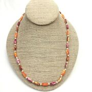 Vintage Lucite Barrel Bead Faux Pearl Choker Necklace, Rainbow, Costume Jewelry