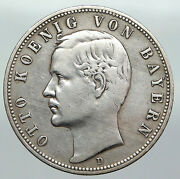 1898 Germany Bavaria Ruled By Otto I W Eagle Antique Silver 5 Marks Coin I92265