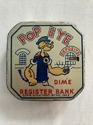 Antique 1929 Popeye Tin Toy Litho Dime Register Bank Metal King Feature 2.5