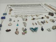 Vintage Jewelry Lot Of Sterling Silver 925 Rings Necklaces Pendants Stones Etc
