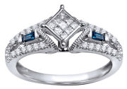 1/5 Ct White Natural Diamond And Blue Sapphire Engagement Ring 10k White Gold