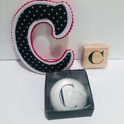 """Monogram """"c"""" Set Felt Initial Dome Paperweight Wooden Stamp New In Box Set Of 3"""