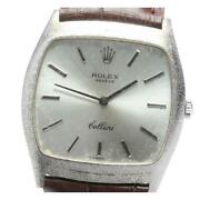Rolex Cellini 3805 Manual Winding Silver K18wg Menand039s Watch From Japan [b0607]