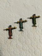 Vintage Lead Figurine From France - Scarecrow Lot Of 3, Red Green Blue